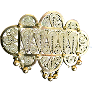 Antique Edwardian Moroccan Gold Pin 10k Very LARGE 20g DIVINE!