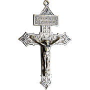 Antique EDWARDIAN Religious LARGE French CROSS Crucifix Pendant Silver Overlay Men Women Very