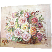 Vintage 60s French FLORAL Painting Flowers Bouquet Roses LARGE Oil Signed STUNNING!