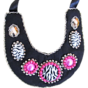 Vintage 70s French Necklace Hippie CHIC Pink on Black Totally AWESOME!