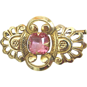 Vintage 20s French Art Deco Pin Egyptian Revival Brooch Pink Crystal Totally AWESOME!