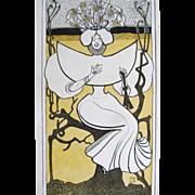 Antique Art Nouveau DECO JUGEND Print Signed Strathmann Very RARE!