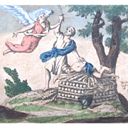 Antique 18th C Century French Religious Print Engraving With Watercolor 1 ANGEL And Abraham EX