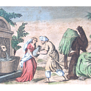 Antique 18th C Century French Religious Print Engraving With Watercolor 2 REBECCA At The Well