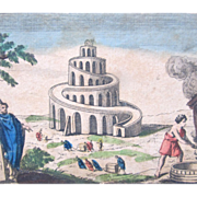 Antique 18th C Century French Religious Print Engraving With Watercolor 3 TOWER Of BABEL EXCEP