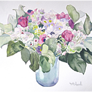 SOLD Vintage FRENCH Watercolor Painting Flowers Still Life SIGNED MAGNIFICENT Pastel Floral! -