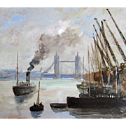 Vintage LONDON Seascape Harbor Mid Century Marine Oil Signed DIVINE!