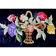 Vintage 20s LARGE French Art DECO Floral Embroidery HUGE Flowers Appliques Absolutely STUNNING