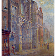 Vintage 20s French IMPRESSIONISTIC Oil Painting Gothic Cathedral City Buildings Signed MONET .
