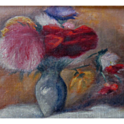 VALENTINE! Vintage 1950s French FLORAL Painting Flowers Bouquet Small Oil Signed RARE QUALITY!