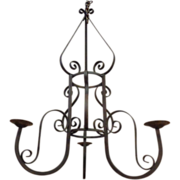 SALE Large French Antique Wrought Iron 3-Light Chandelier