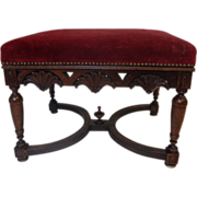SALE 19th Century French Antique Walnut Stool