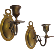 SALE Pair of 19th Century Antique Brass Candleholders