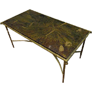 SALE Art Deco Faux Bamboo Bronze Coffee Table