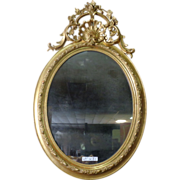 SALE 19th Century Antique French Louis XV Style Oval Gilded Mirror