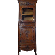 SALE 19th Century Antique French Provencal Oak Vitrine Cabinet