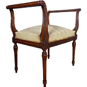 SALE 19th Century Antique French Louis XVI Style Walnut Bench