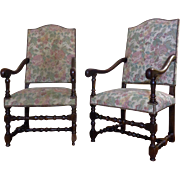 SALE Pair of 19th Century Antique French Louis XIII Style Armchairs