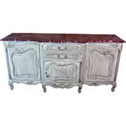 SALE Antique Country French Louis XV Style Provencal Step Front Buffet Enfilade