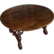SALE 19th Century Antique Spanish Round Oak Dining Table