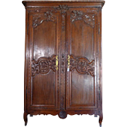 SALE 18th Century Antique French Louis XVI Period Oak Wedding Armoire