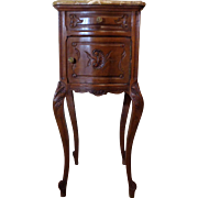 SALE 19th Century Antique French Louis XV Style Walnut Bowed Nightstand