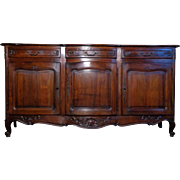 SALE Antique French Louis XV Style Provencal Walnut Bowed Buffet