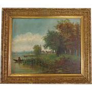 SALE 19th Century Antique French Oil On Canvas The Fisherman