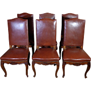 SALE Set of 6 19th Century Antique French Louis XV Style Walnut Chairs