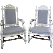 SALE Pair of 19th Century Antique French Renaissance Style Armchairs