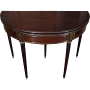 SALE 19th Century Antique French Louis XVI Style Mahogany Demi Lune Game Table