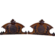 SALE Pair of 19th Century Antique French Napoleon III Walnut Twin Bed Headboards
