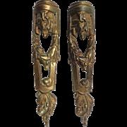 SALE Pair of 19th Century Antique French Cast Bronze Louis XVI Style Omolu Furniture Mount