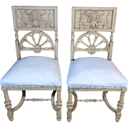 SALE Pair of 19th Century Antique French Louis XVI Style Side Chairs from Brittany