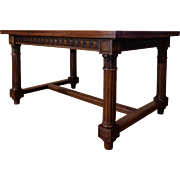 SALE 19th Century Antique French Renaissance Style Walnut Dining Table