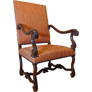 SALE 19th Century Antique French Louis XIV Style Walnut Armchair
