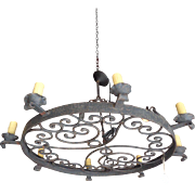 SALE Antique French Wrought Iron 8-Light Round Chandelier