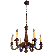 SALE Antique French Louis XV Style 6-Light Walnut Chandelier