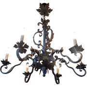 SALE Antique French Louis XV Style Wrought Iron 6-Light Chandelier