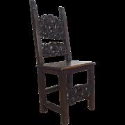 SALE 19th Century Antique Spanish Renaissance Style Walnut Side Chair