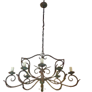 SALE Antique French Louis XV Style Wrought Iron 8-Light Chandelier