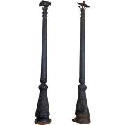 SALE Pair of 19th Century Antique French Cast Iron Street Lamps