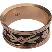 18CT Signed Antique Victorian Wedding Band Tri-Color