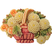 Vintage Carved Celluloid Basket of Flowers Brooch Pin