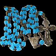 SALE Deco Germany Blue Glass Rosary