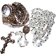Deco Era Sterling Rosary & Whiting & Davis Mesh Rosary Bag