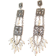 Barse Sterling Pearl Dangling Earrings Estate