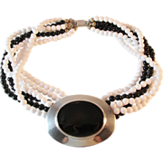 Ben Amun Black and White Multi Strand Beaded Necklace Choker in Polished Pewter Vintage Modern