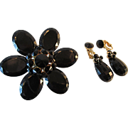 Large Black Lucite Flower Brooch with Dangle Earrings Circa 1955 Vintage