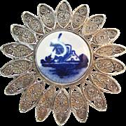 SALE Signed Delft 835 Silver Filigree Windmill Porcelain Brooch Vintage